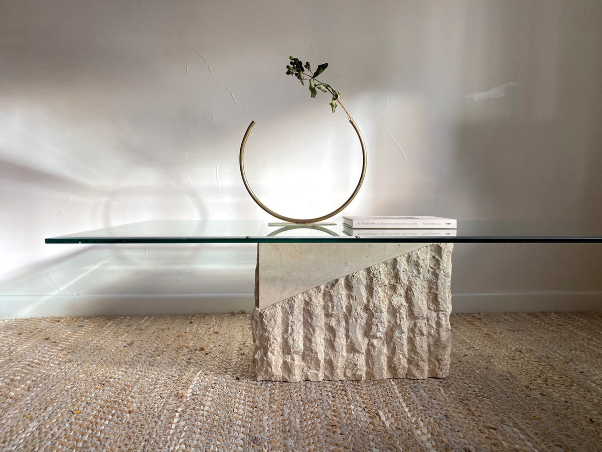 Fossil Stone & Glass Coffee Table