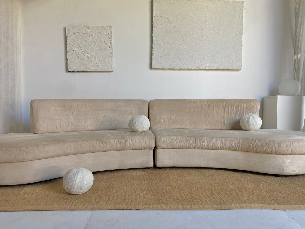 Curvy Champagne Suede Sofa