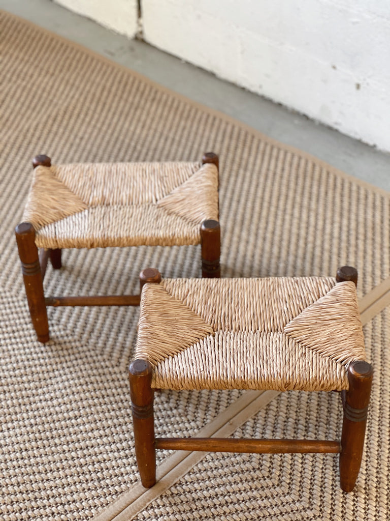 Antique French Oak and Straw Stool