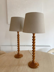 Sweet Twist Wooden Table Lamp with Linen Shade