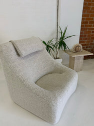 Original Featherston Numero IV Lounge Chair Reupholstered in Wool Boucle
