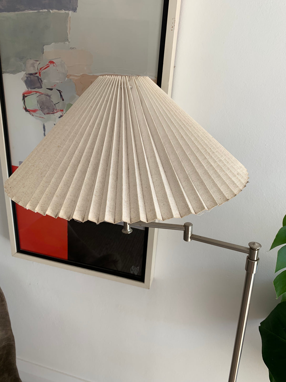 Vintage Floor Lamp With Pleated Shade