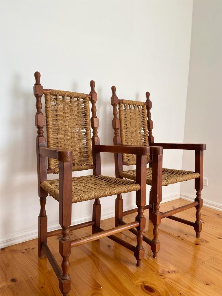 Set of 8 1930s Antique Woven Dining Chairs