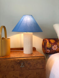 Textured fluted lamp with periwinkle shade