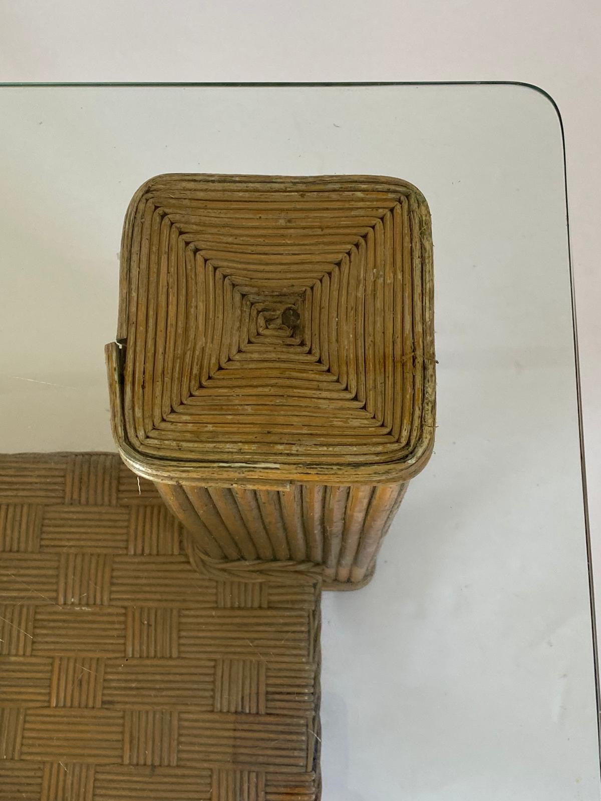 Cane and Glass Coffee Table