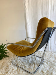 Vintage Italian Style Chrome and Velvet Sling Chair