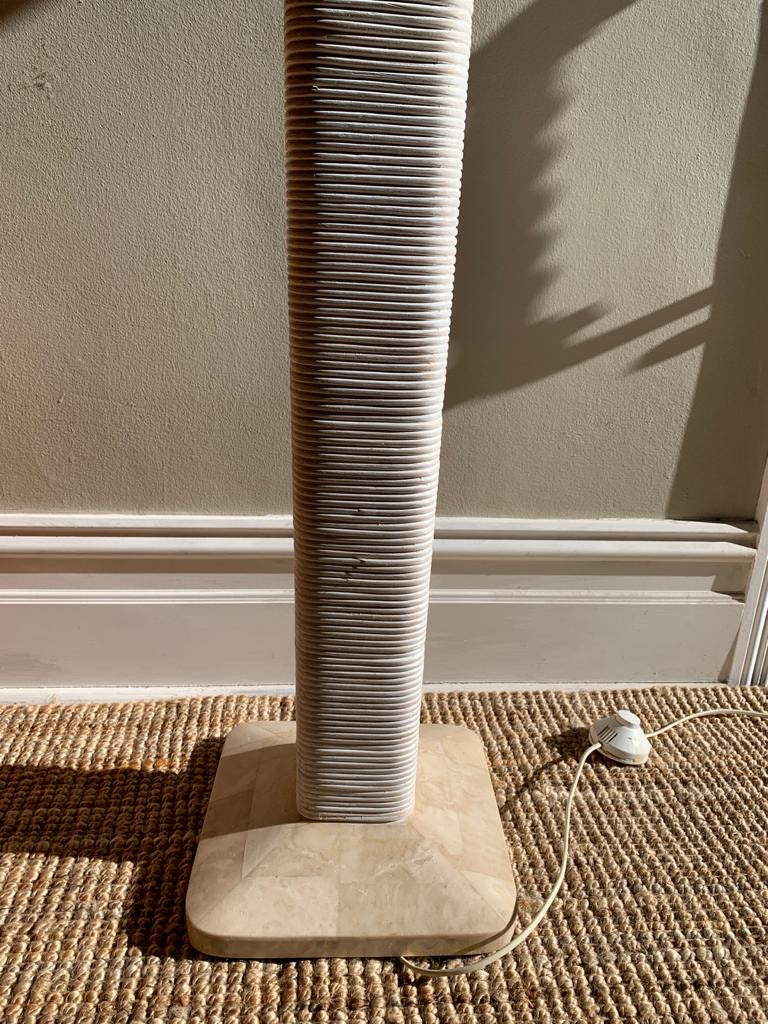 Cane and Marble Floor Lamp
