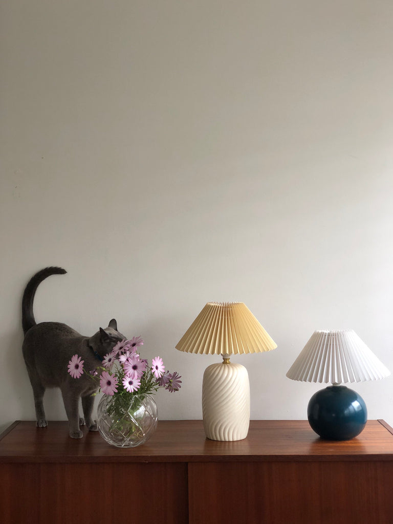 Indigo Blue Ball Lamp with White Pleated Shade