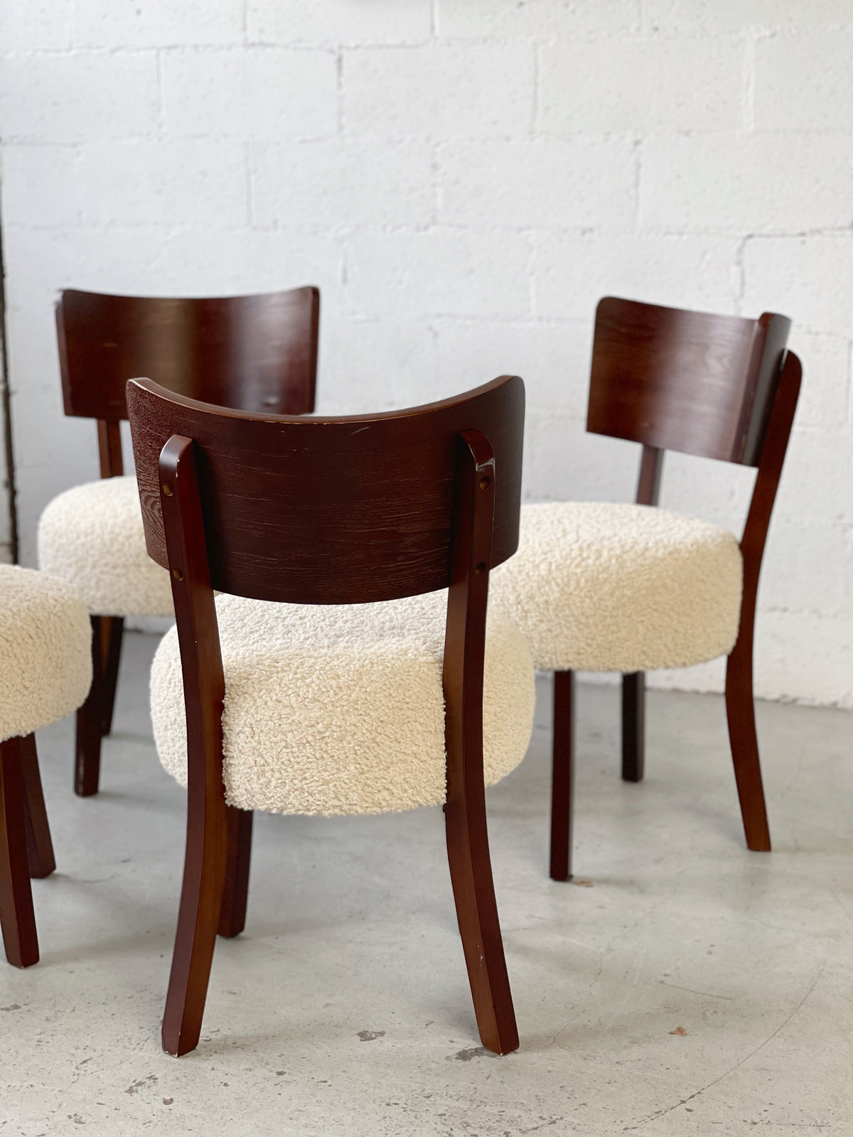 Wooden Boucle Dining Chair - Price is Per Chair