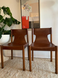 Two Fred Lowen Vintage Leather Slingback Dining Chairs for Fler