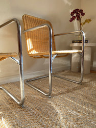 Chrome & Rattan Chairs - Set of 4