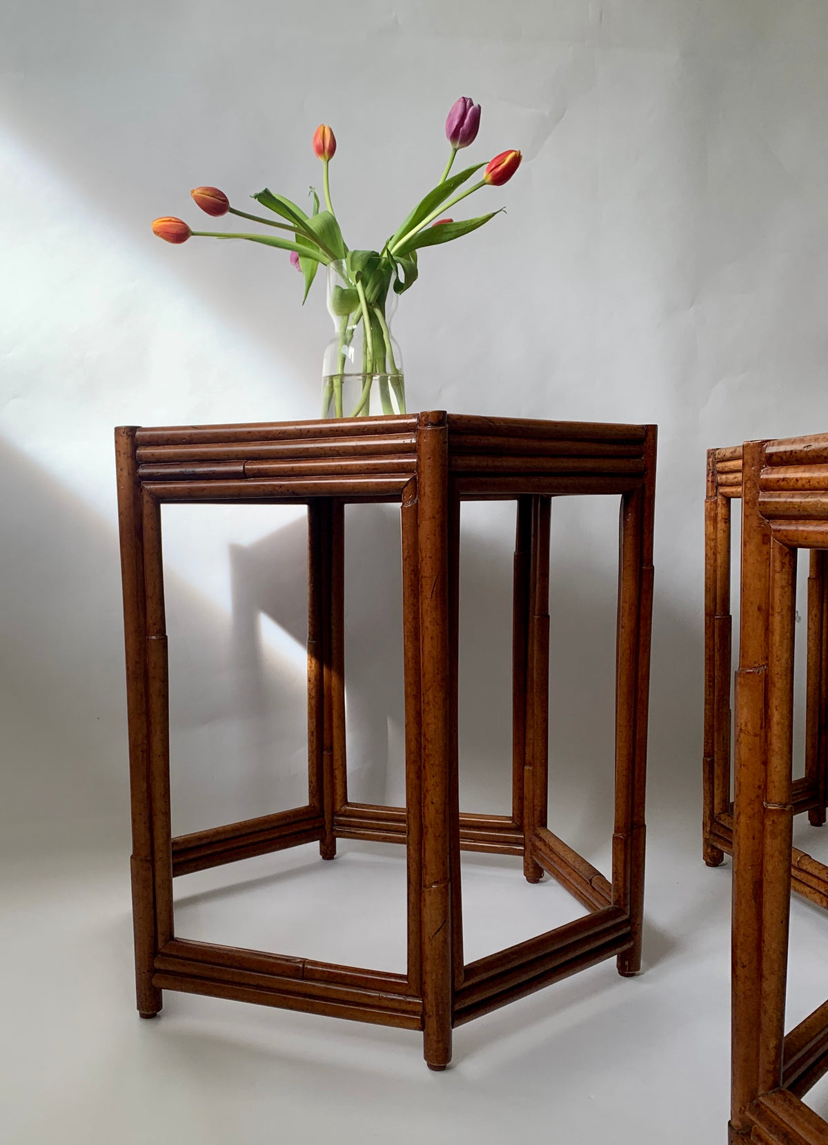 1960s Cane Hexagonal Side Tables