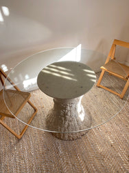 Fossil Stone & Glass Dining Table