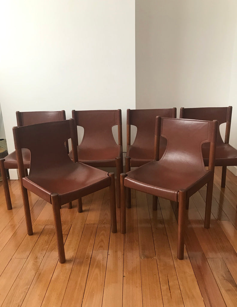Set of Original Fler Leather Sling Chairs by Fred Lowen