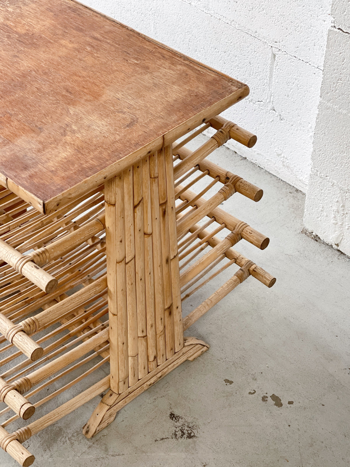 Vintage Bamboo Side Table with Magazine Rack