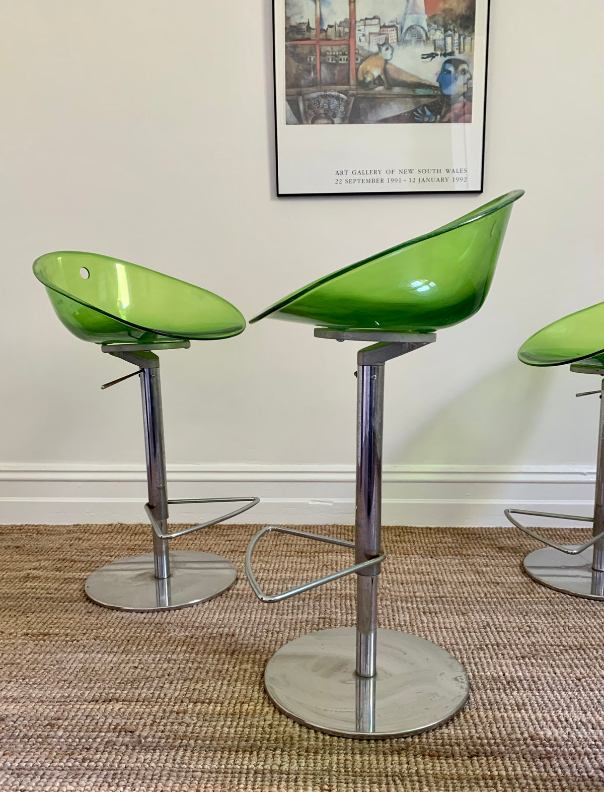 Lime Green Italian Bar Stools - Two Left