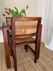 Vintage Rattan and Cherrywood Dining Setting