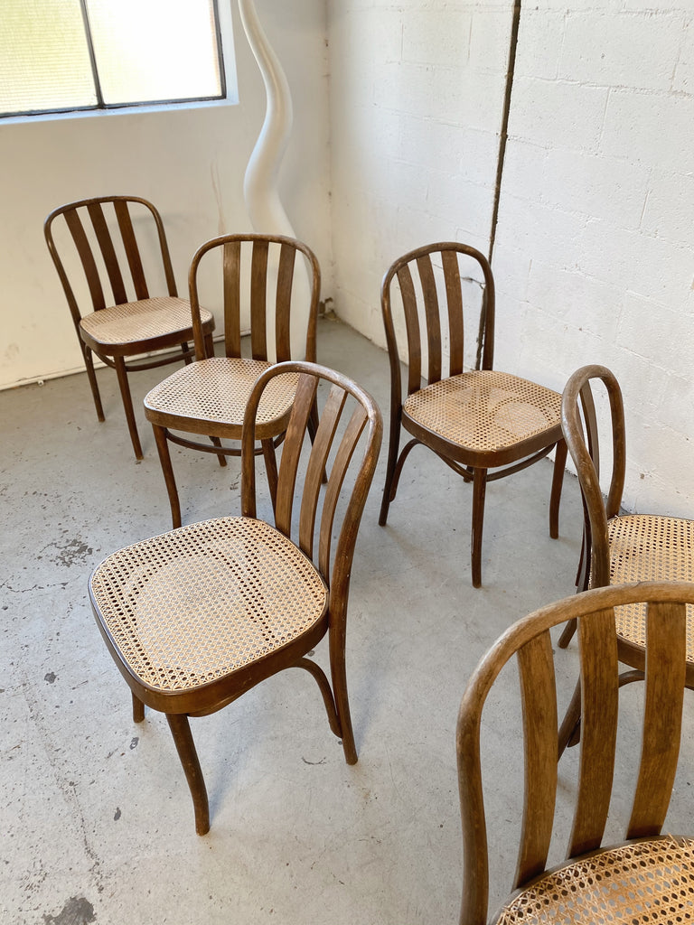 Set of Six Rattan Bentwood Dining Chairs
