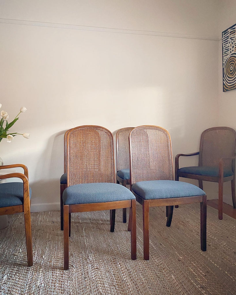 6 Antique Walnut Dining Chairs