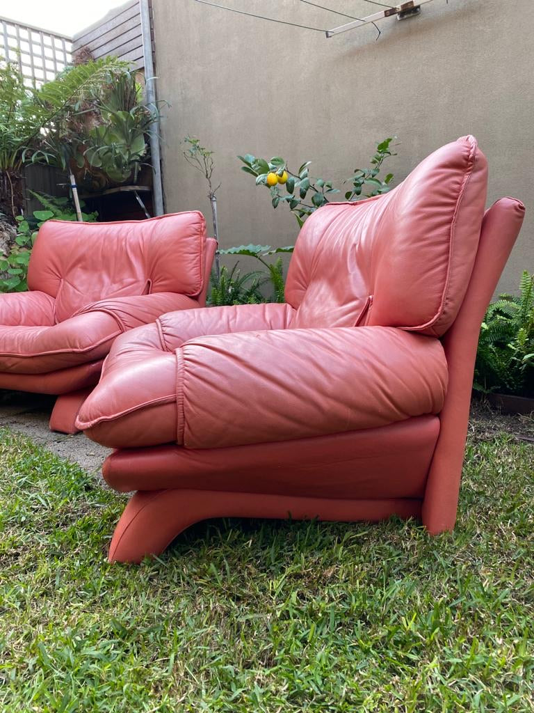 Pink Salotti Italian Leather Chairs