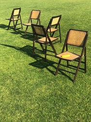 Five Cherry Wood Folding Chairs