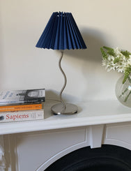 Squiggle Lamp With Navy Pleated Shade