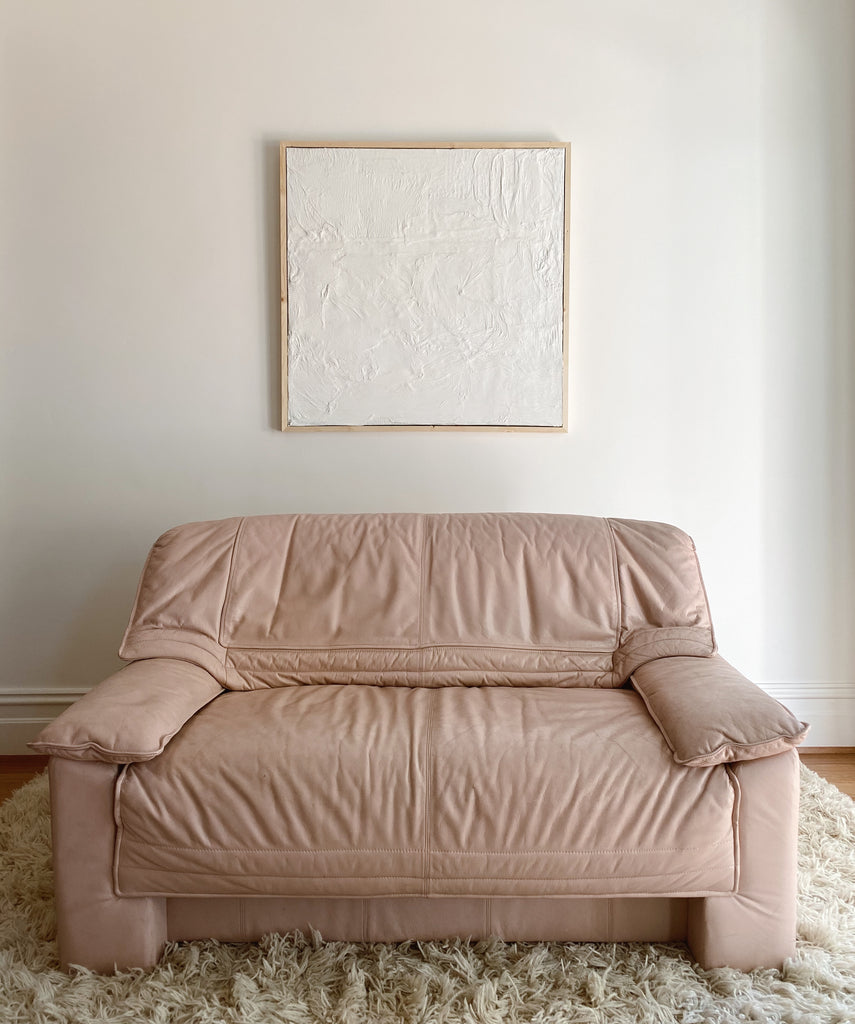 Baby Pink Leather Sofa