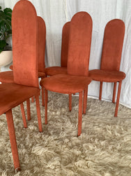 Vintage 1980s Terracotta Suede Dining Chairs