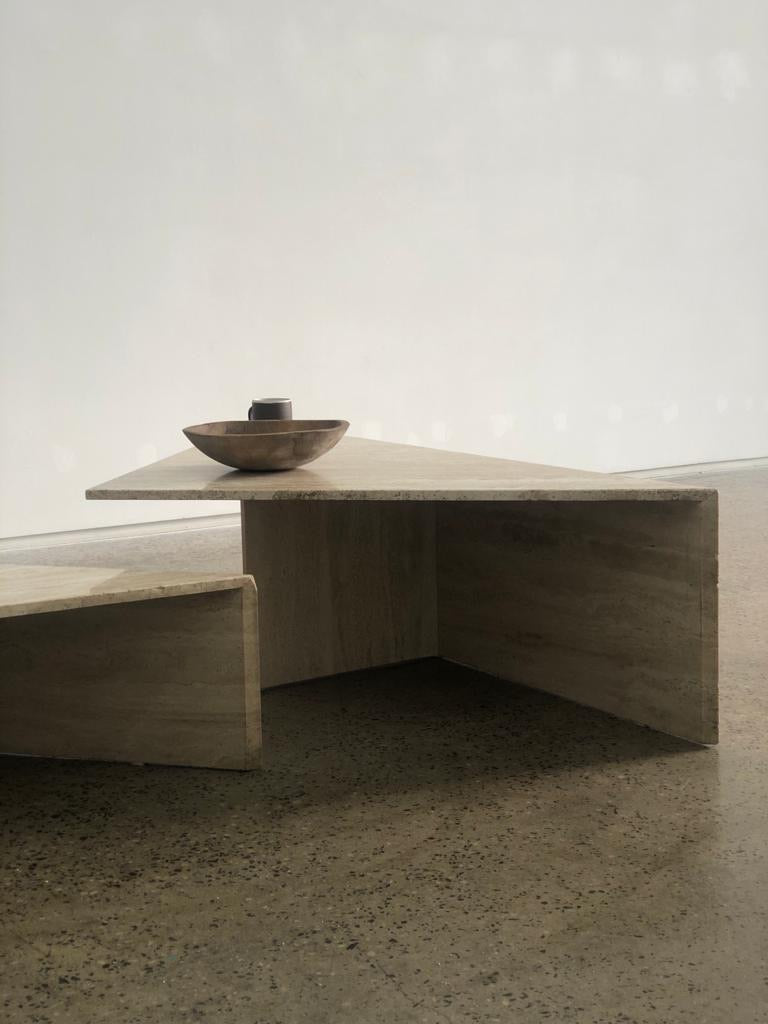 Split Level Travertine Coffee Table