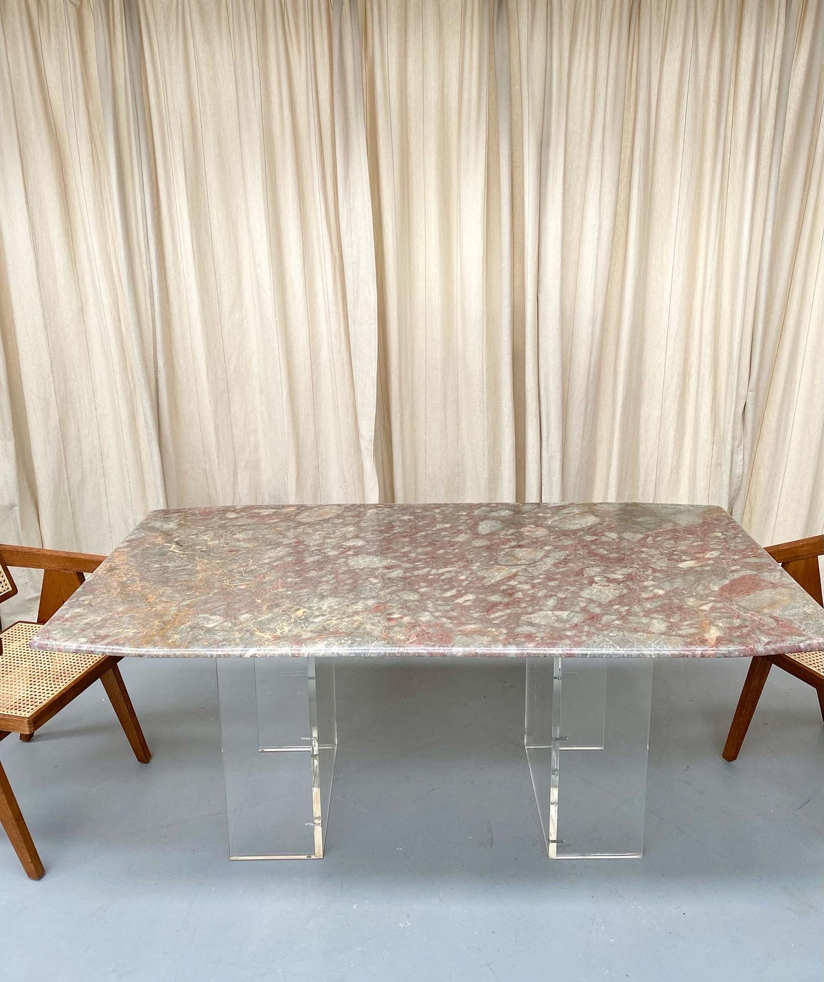 Incredible Custom Coloured Marble & Lucite Table