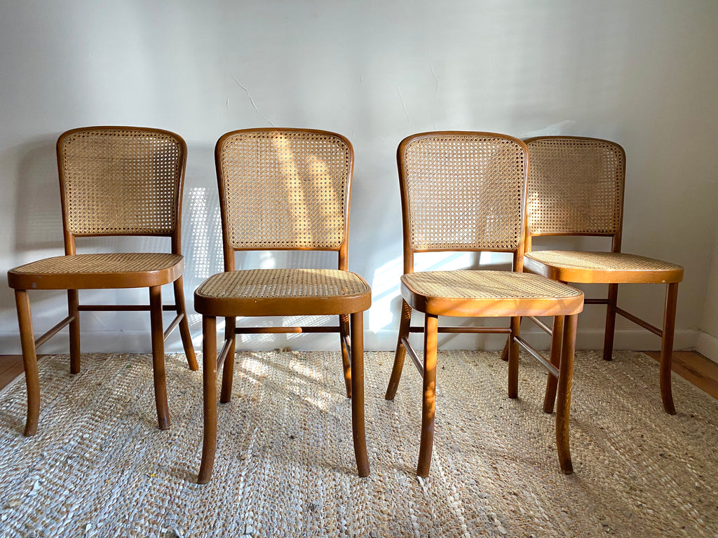 Bentwood Rattan Dining Chairs x 4
