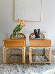 Pair of Cane and Wood Bedside Tables