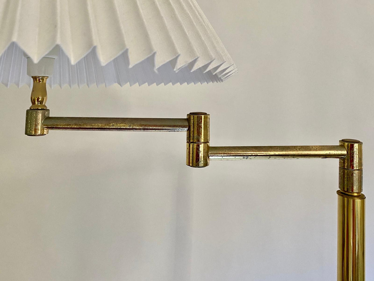 1970s Brass Pleated Floor Lamp