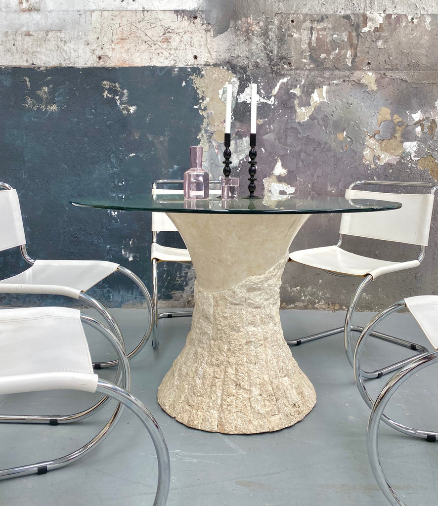 Round Glass & Fossil Dining Table