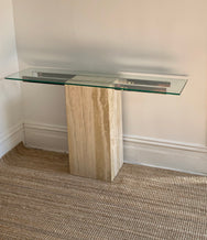Vintage Travertine and Chrome Console Table