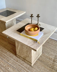 Italian Travertine Side Table - One Left
