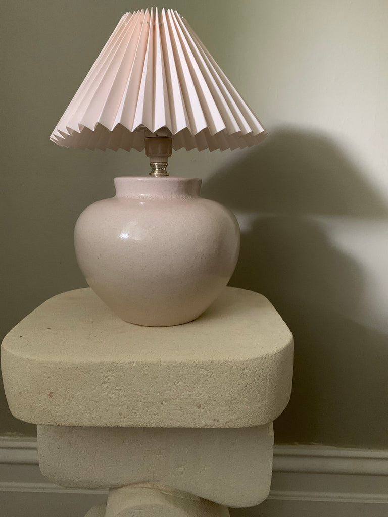 Plump Mauve Lamp With Pleated Pink Shade