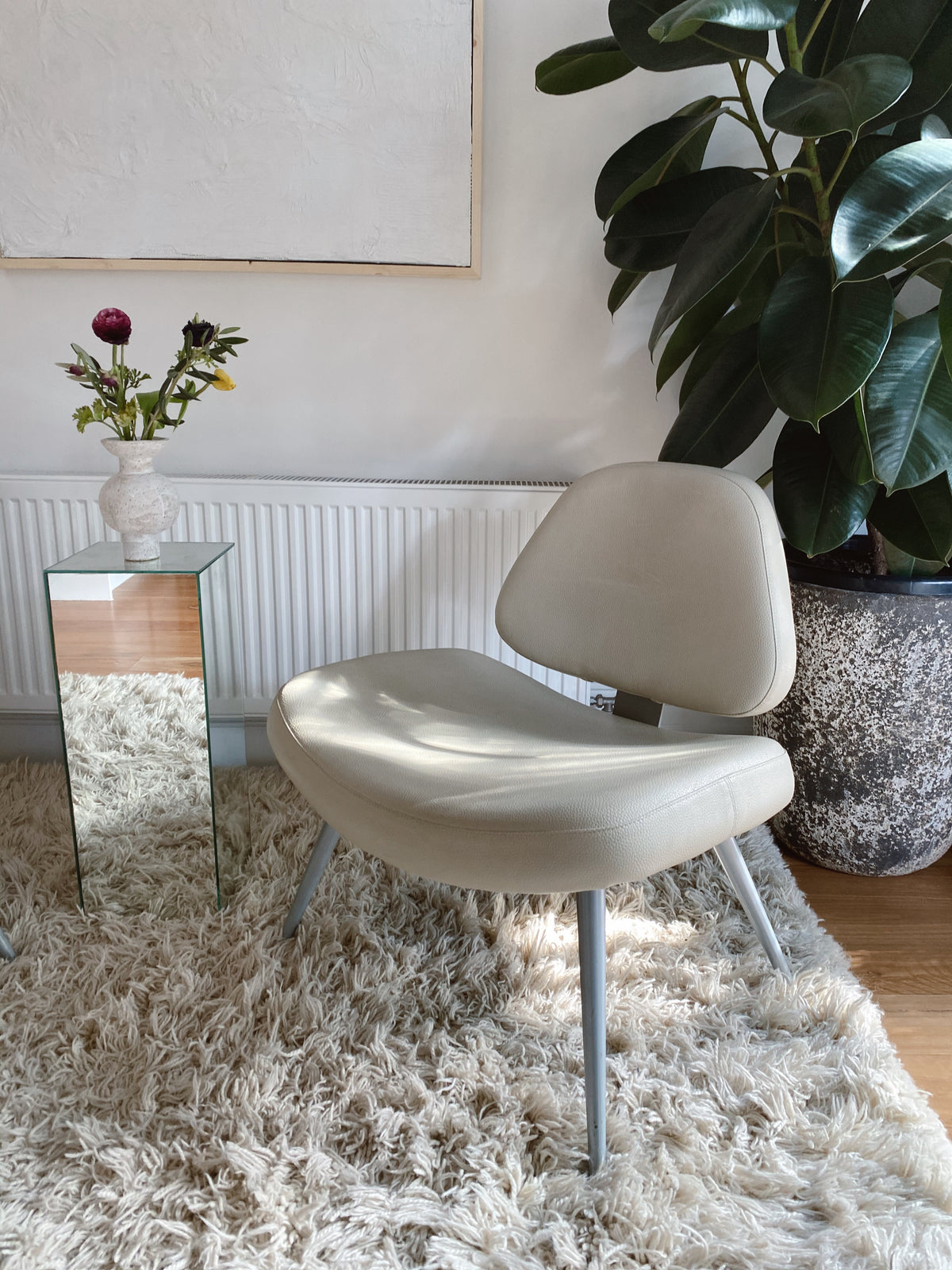 Cream Leather Lounge Chairs