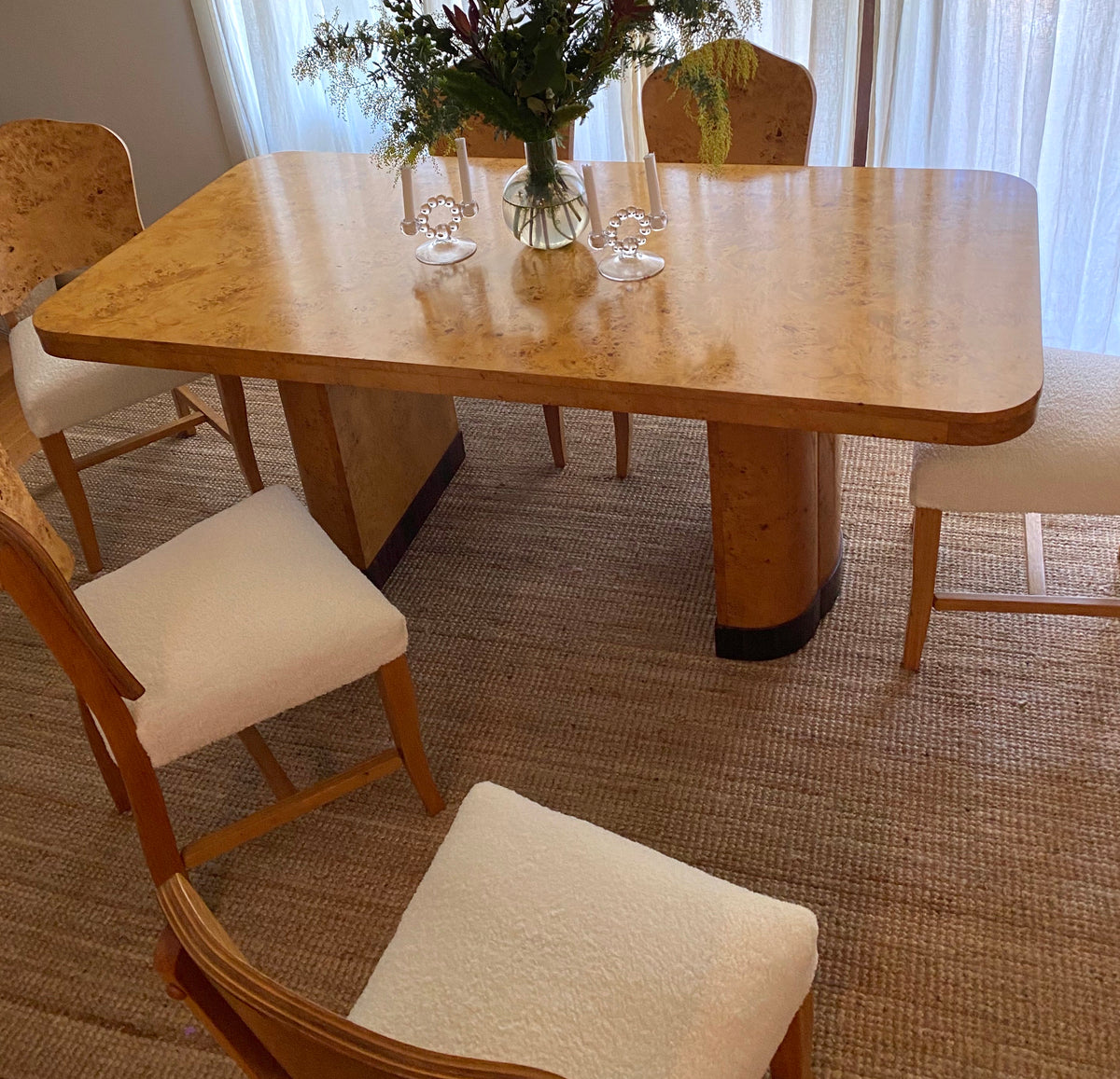 Burl & Shearling Dining Chairs