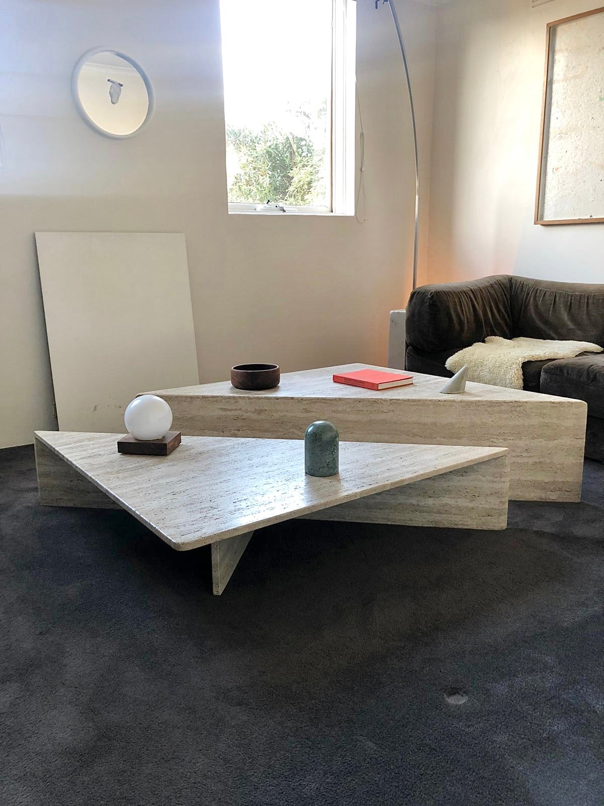 Italian Up & Up Travertine Coffee Table 1970s