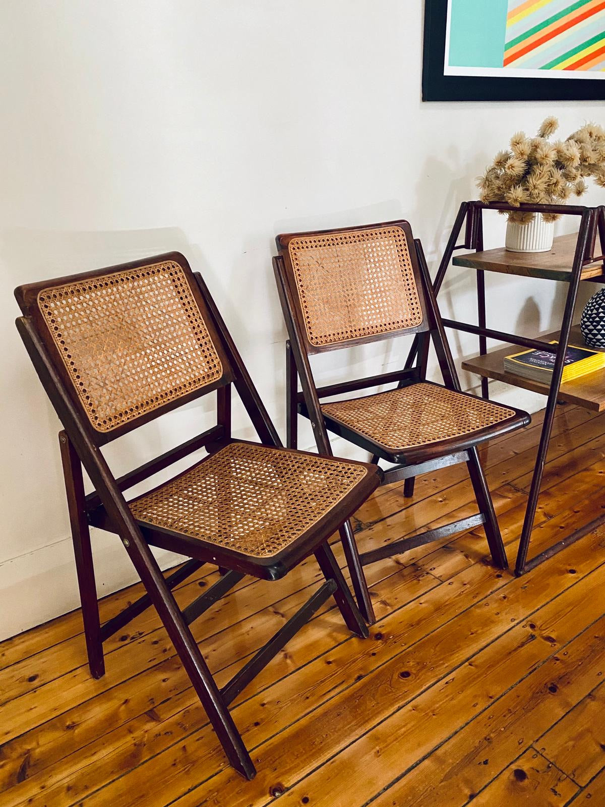 Vintage Cherry Wood Rattan Chairs