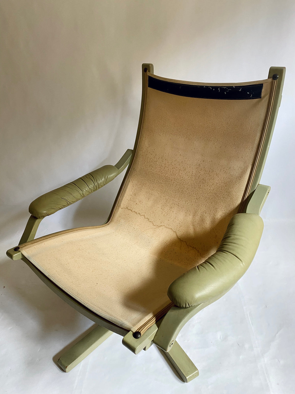 Gerald Easden Pistachio Leather Armchair by Module Furniture