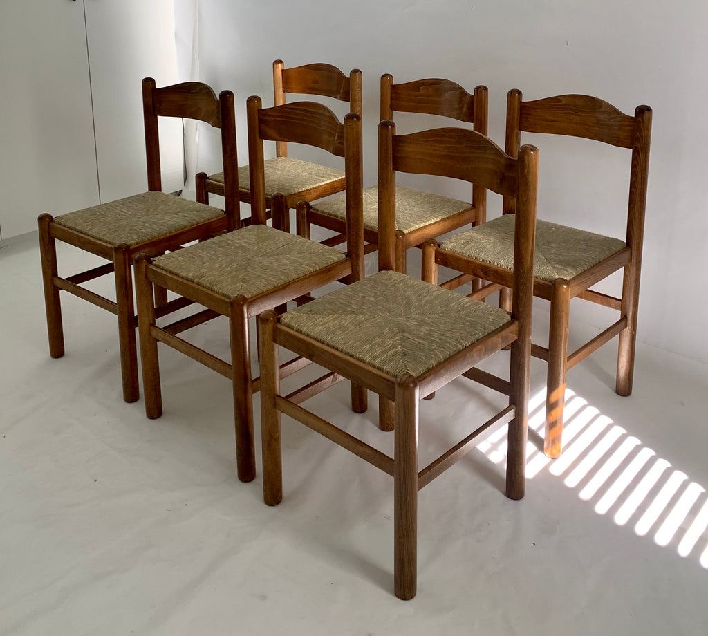 Six Vintage Rush Dining Chairs (Set)