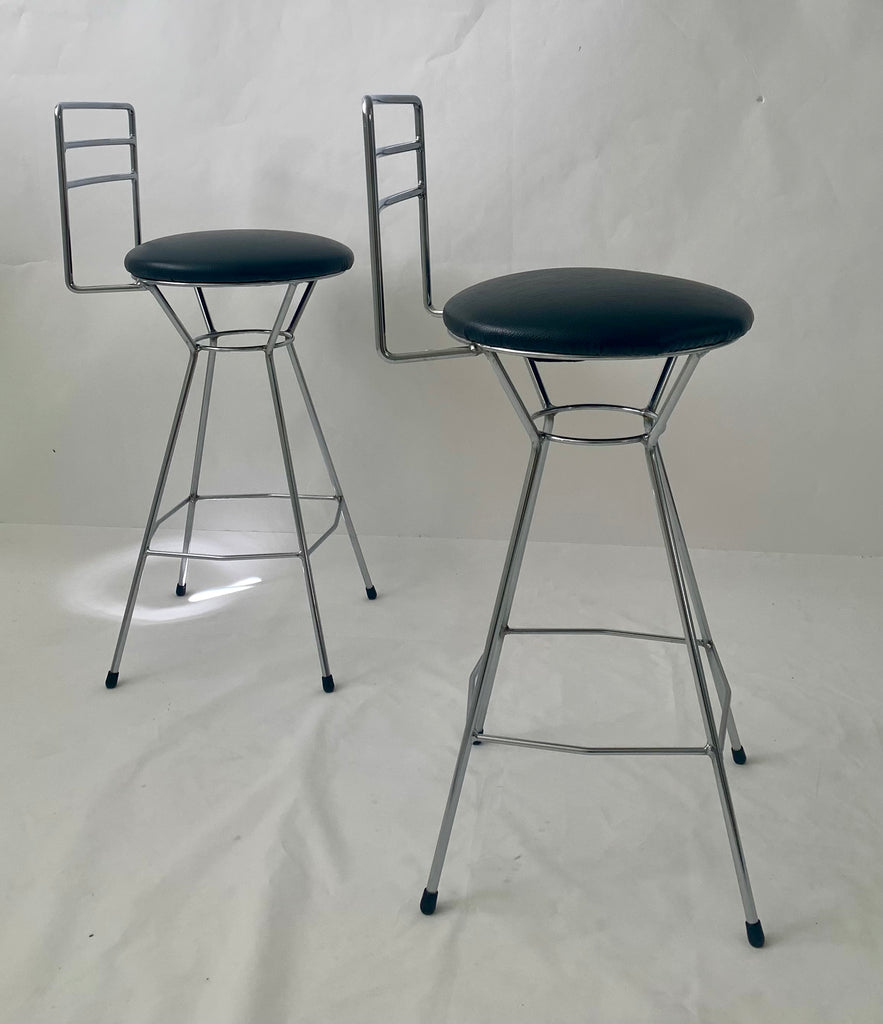 Pair of Atomic-Style Bar Stools (Two Pairs Available)