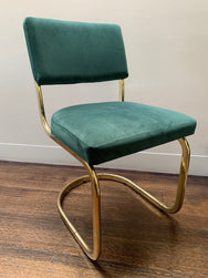 Set of Four Green Velvet Cantilever Chairs