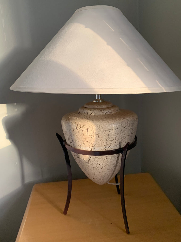 Vintage 'Eggshell' Lamp on Iron Stand