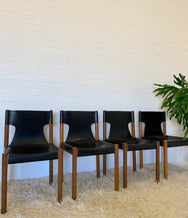 Four Fred Lowen Vintage Leather Slingback Dining Chairs for Fler