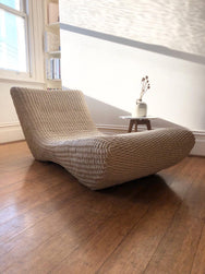 Peter Casablanca 1980s Woven Leather Chaise Lounge