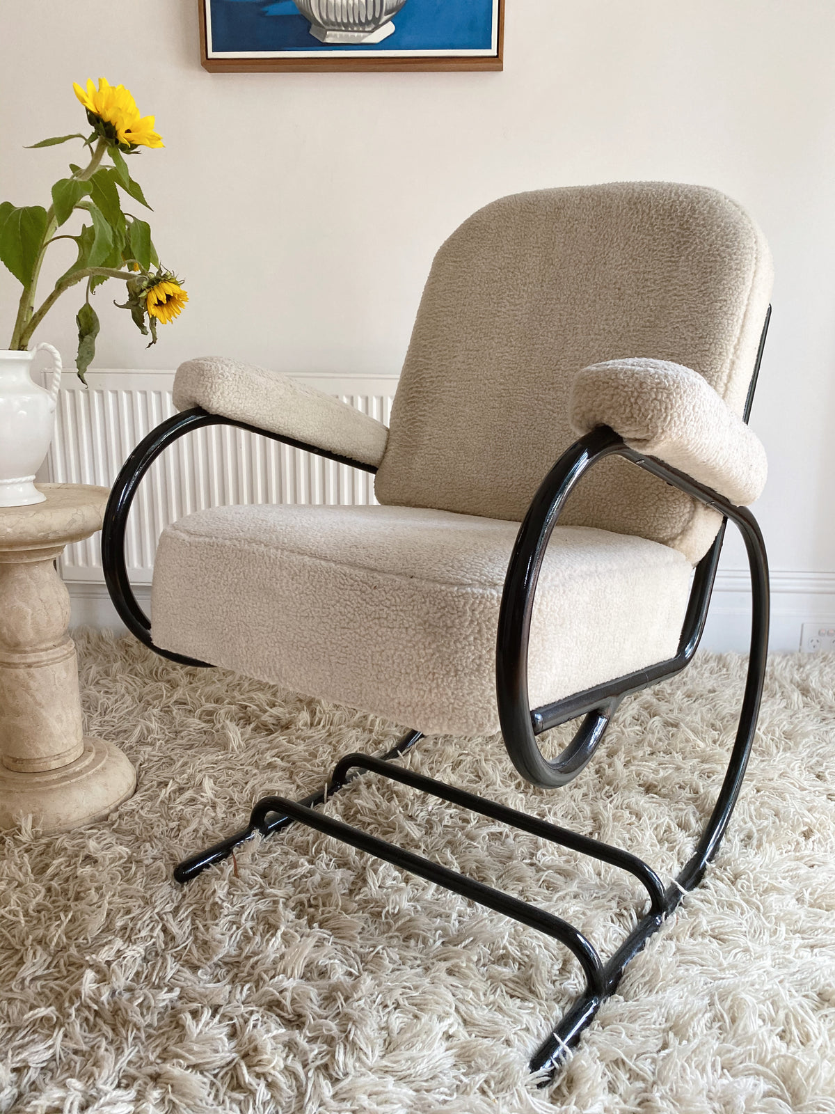 French Art Deco Bauhaus Tubular Lounge Chair circa 1930s