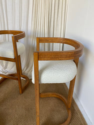Set of Four Vintage Timber Boucle Bar Stools